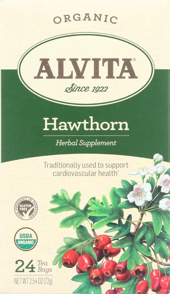 Alvita Organic Hawthorn Tea Herbal Supplement Caffeine Free