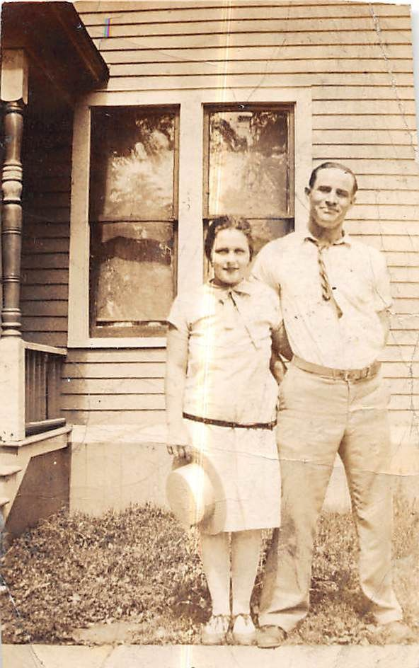Photograph Snapshot Vintage Black and White: Couple Dress Smile Home 1930's