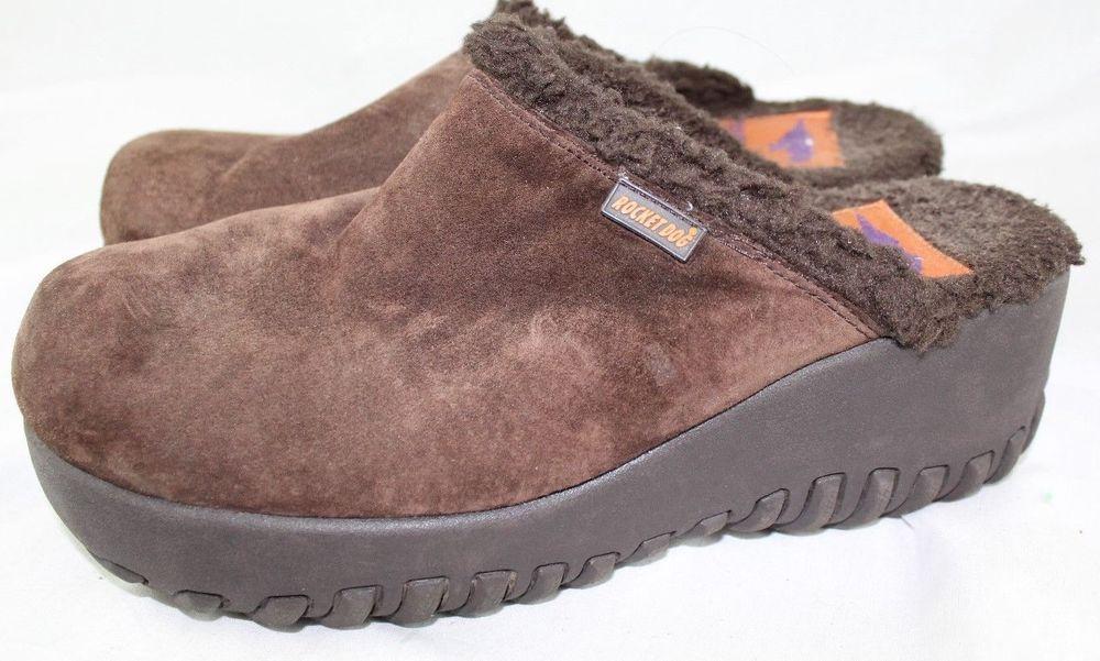 Rocket Dog Brown Suede Fleece Lined Clogs Mules Shoe Size 10