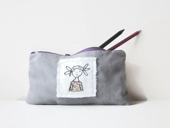 Pencil case with freehand embroidery  by LittleBirdOfParadise