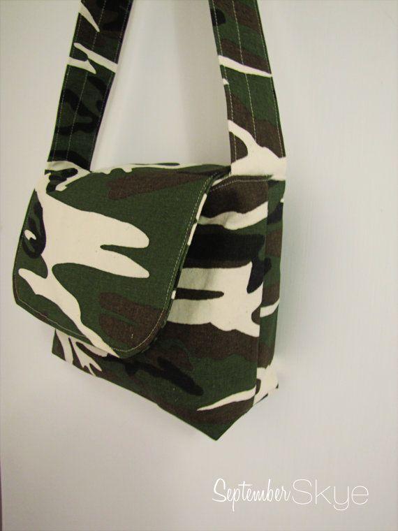 da2f928e04 Boy Messenger Bag in Camo Kids Bag by SeptemberSkye on Etsy