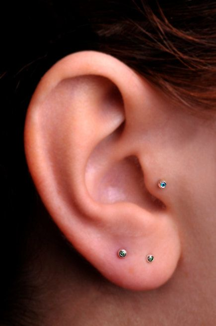 Tragus Cartilage Stud Sterling Silver Tiny 1mm Fancy Colored Blue Diamond In 2mm Setting Handcrafted