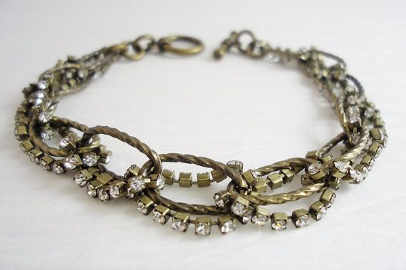 Antique Gold and Rhinestone Bracelet by PreciousPBoutique on Etsy