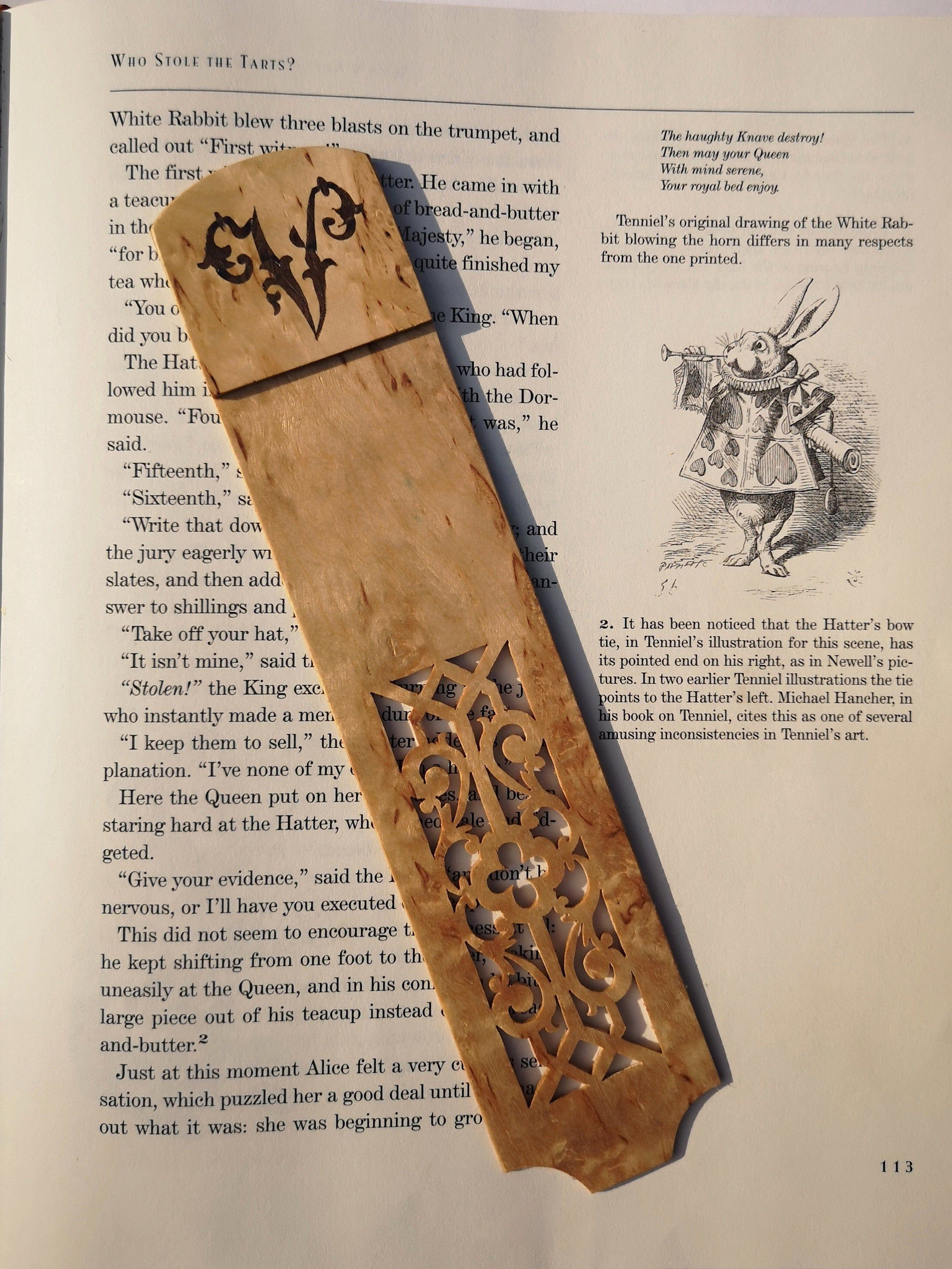 Personalized Wooden Book Lover Gift Bookmark Marquetry Monogram