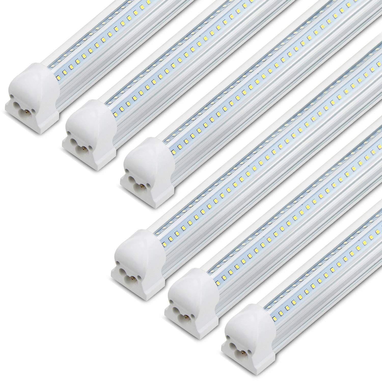 8ft Led Shop Light 72w 7200lm 6500k Dual Row V Shape T8