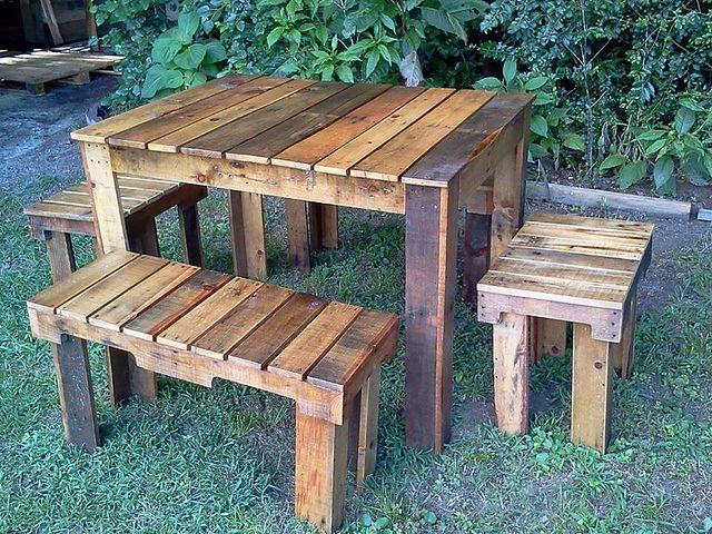 541677_10151855761358273_990452469_n Mesa de jardín, Jardín y Mesas - como hacer bancas de madera para jardin