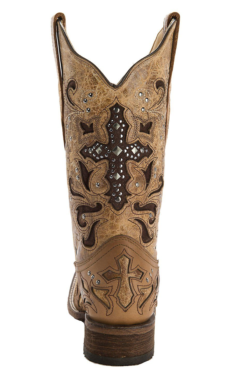 27d0c9447fa Corral® Women's Antique Saddle w/ Stud Cross Square Toe Western Boot ...