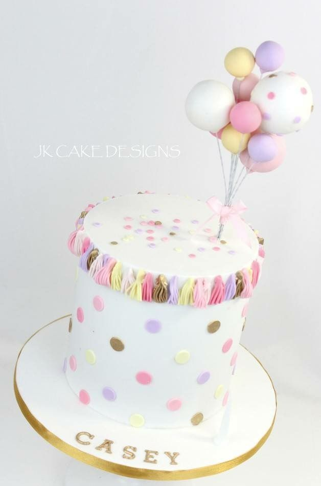 Balloons And Polka Dots Cake With Images Birthday Cake Girls