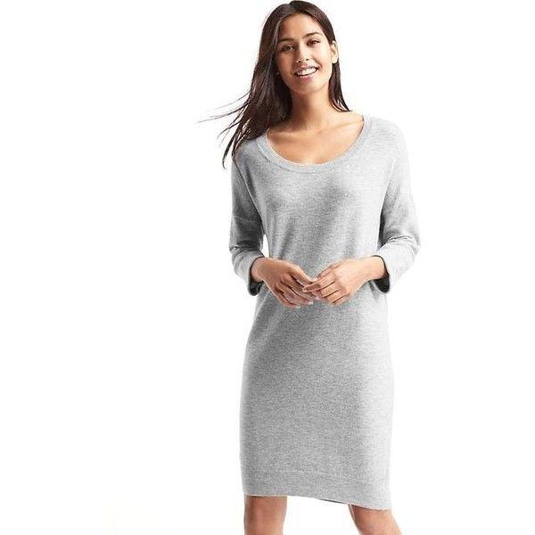 Gap Women Relaxed Midi Sweater Dress ($70) via Polyvore featuring dresses, heather grey, regular, long-sleeve sweater dresses, drop shoulder dress, knit midi dress, long sleeve mid calf dresses and knit sweater dress