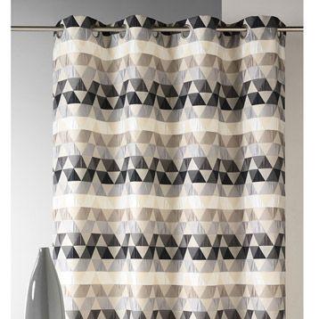 Rideau Triangles, gris, 140 x 260 cm