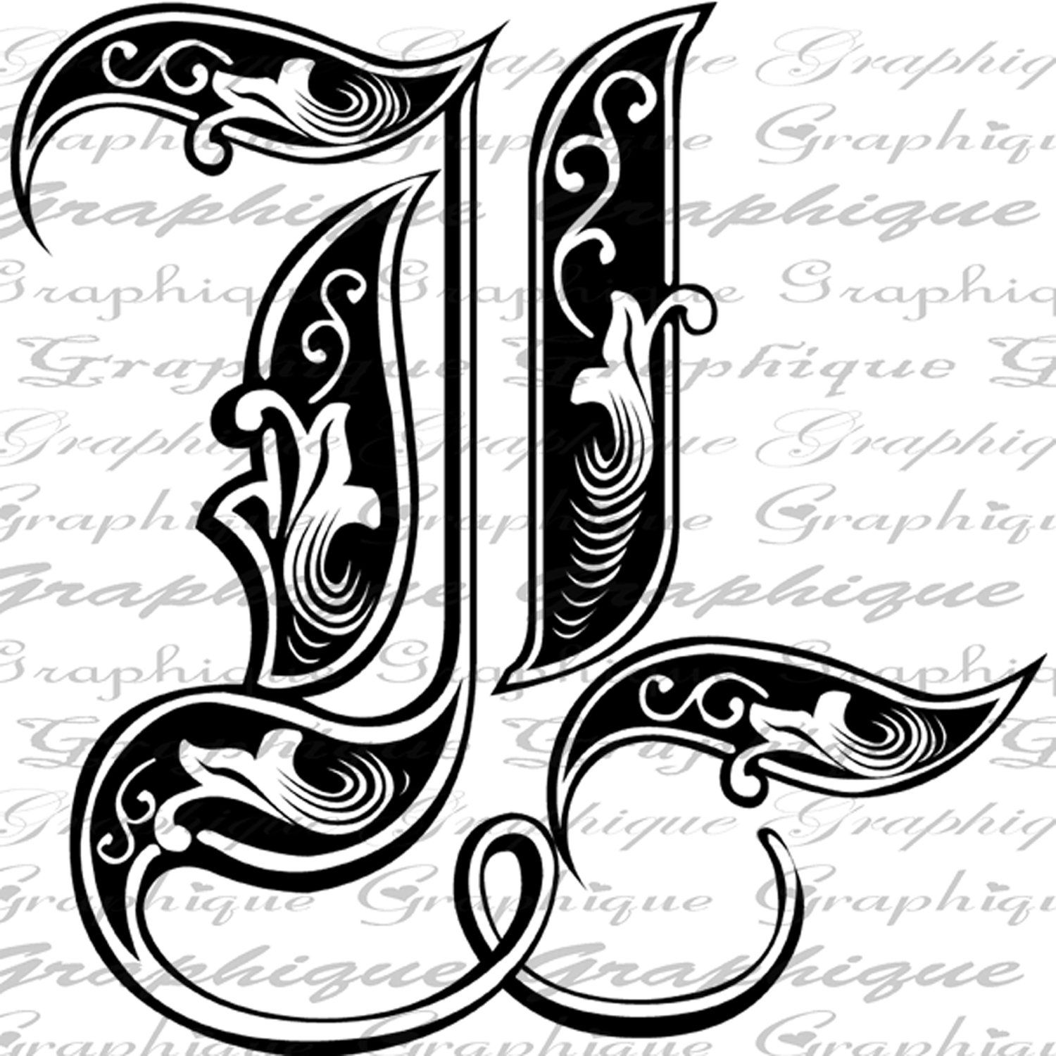 LETTER Initial L Monogram Old ENGRAVING Style Type Text