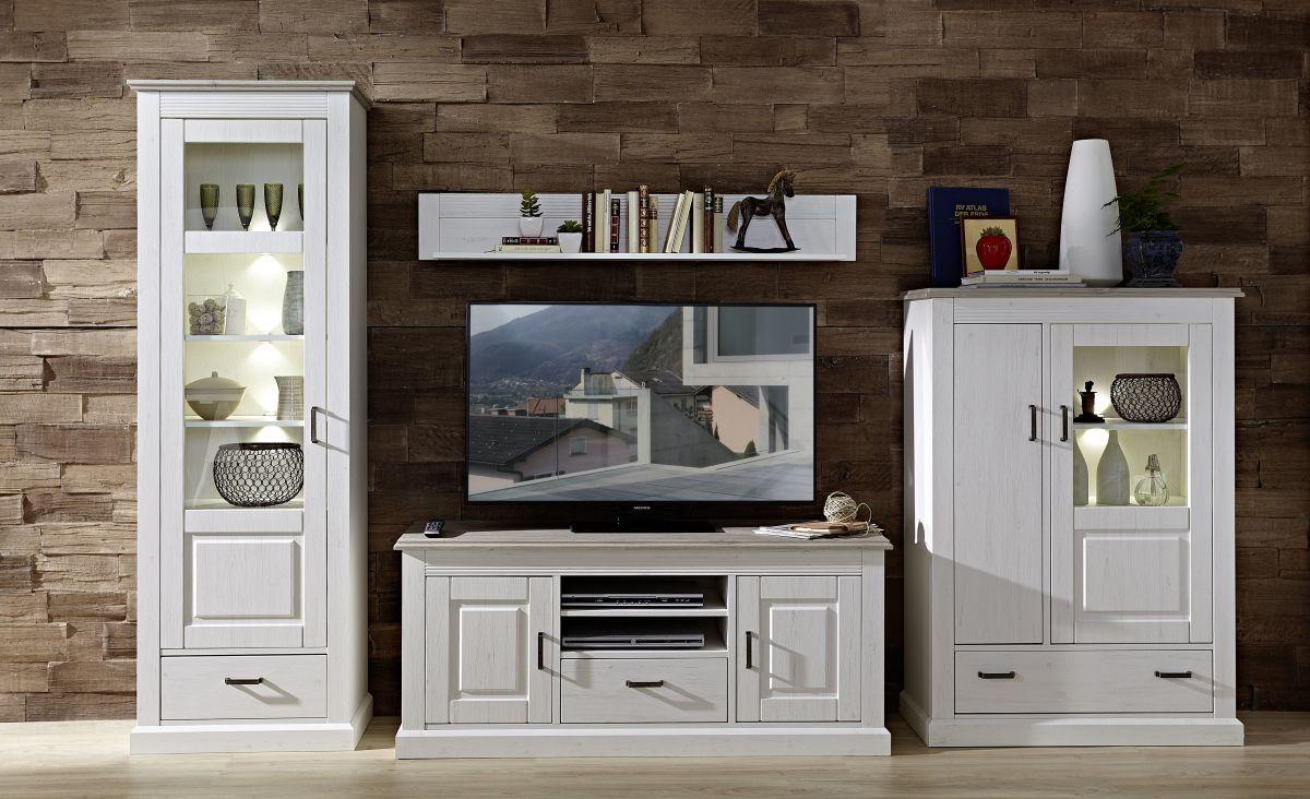 Großartig Wohnzimmermöbel Weiß Holz Foto Von Wohnwand Pinie Hell/ Taupe Mit Beleuchtung Woody
