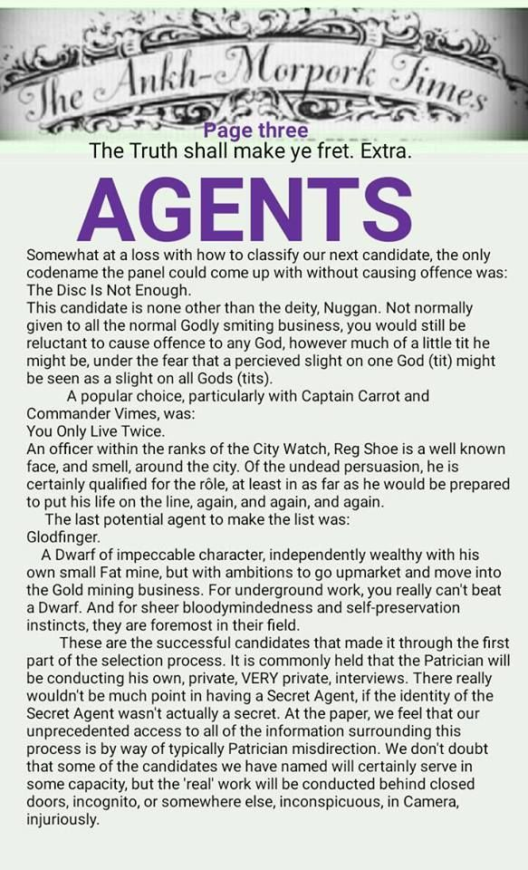 The Ankh-Morpork Times. The Truth shall make ye fret. Extra. AGENTS. page three. by David Green 5 April 2016