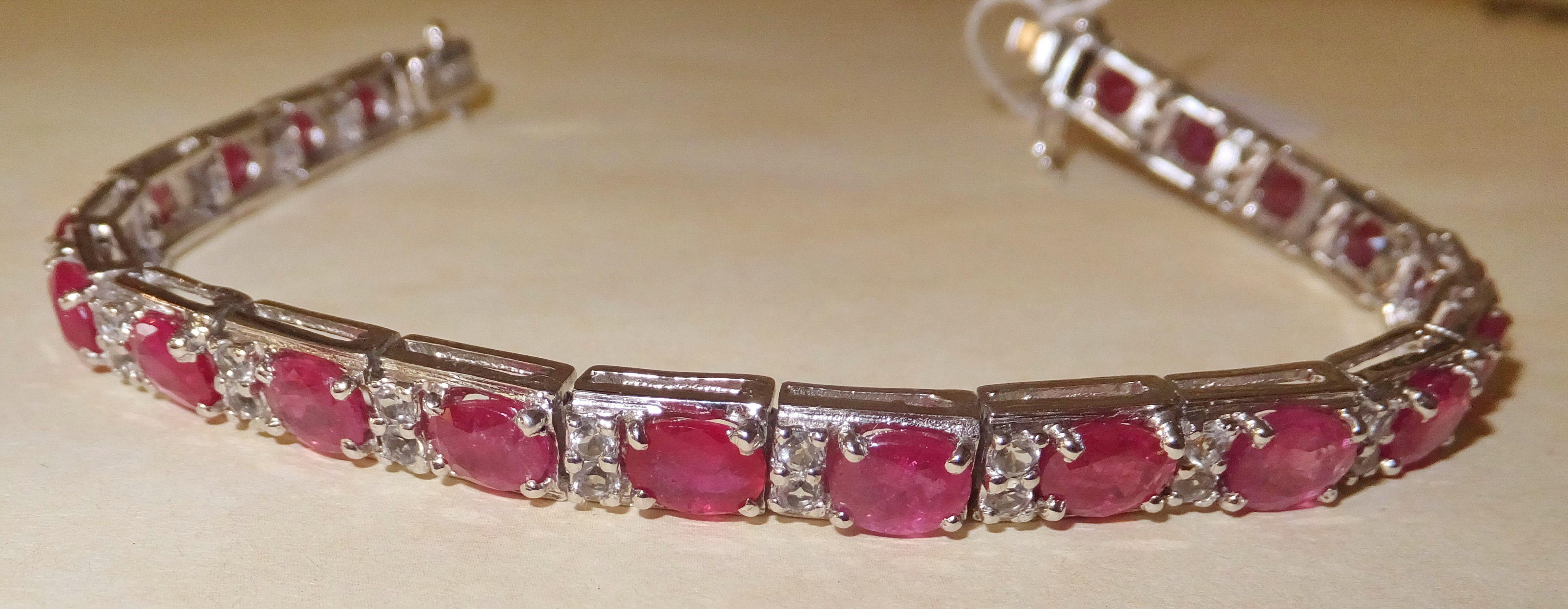 12 Carat Ruby White Sapphire Bracelet Sapphire Bracelet Italian Charm Bracelet Charm Bracelet