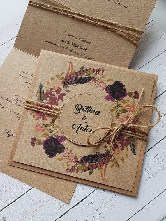 10x HOCHZEITEINLADUNGEN Burgund Bordeaux Herbstfarben Kraftpapier Einladungen zur Hochzeit Hochzeitskarten Jute Rustik Vintage 2019