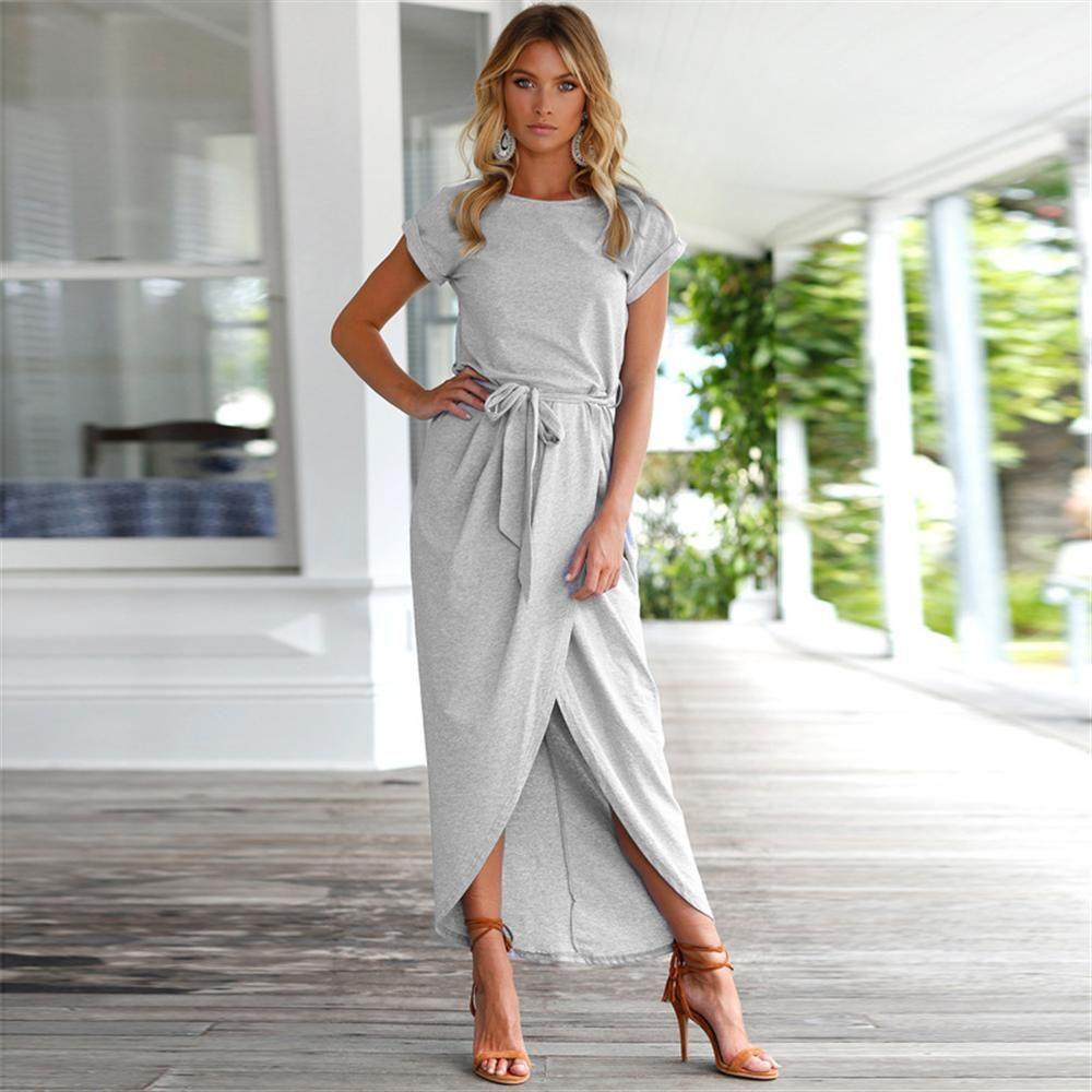 de1cf75a974d 2018 Summer Short Sleeve Bodycon Party Dress Plus Size Sexy Women Long Boho  Dress Elegant Female Boho Beach Dress