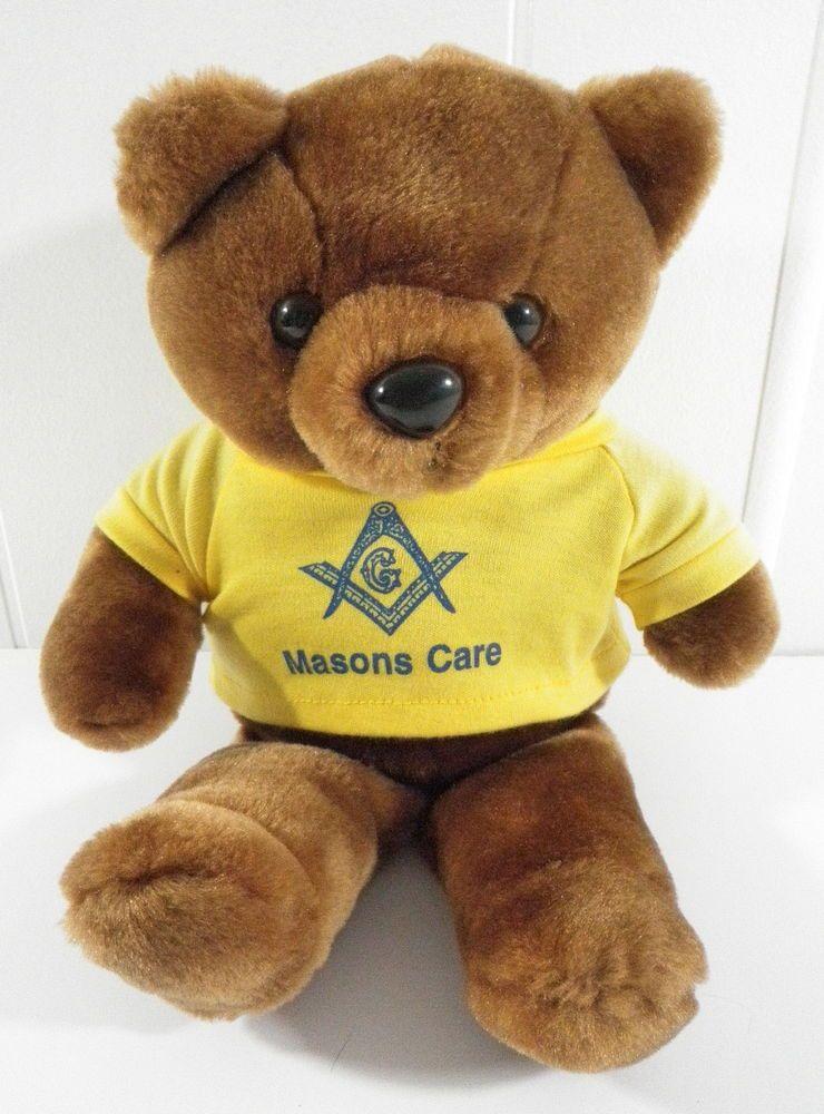 Masonic Square Bear Masons Care Stuffed Animal Toy Plush T Shirt
