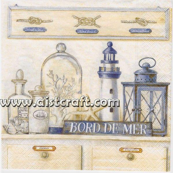 4 Single paper decoupage napkins -272 bord de mer sea design Vintage,kitchen