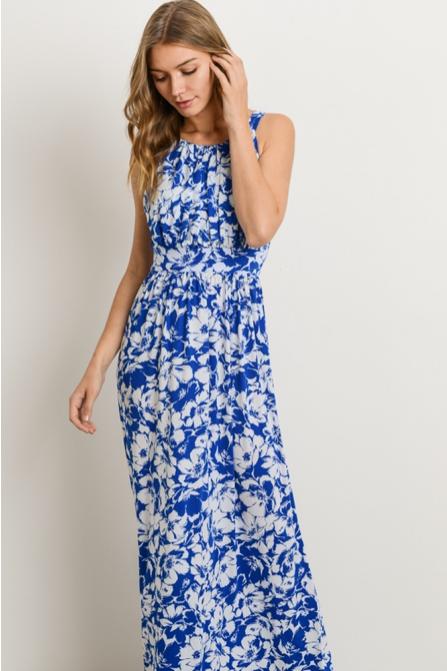 Blue floral print maxi dress featuring halter neckline 28a717646