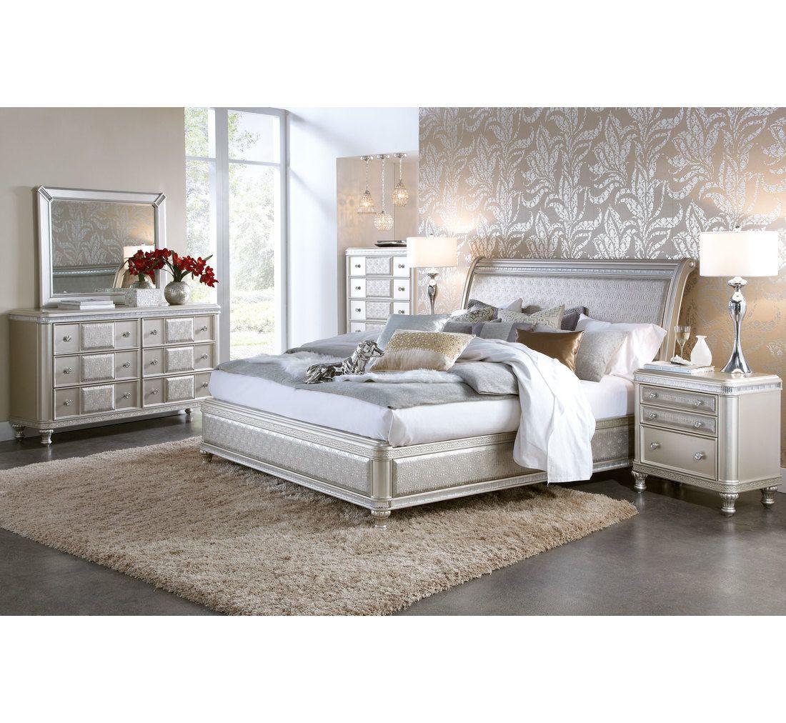 krisbucklerjr Hefner Silver 5 Pc King Bedroom Group