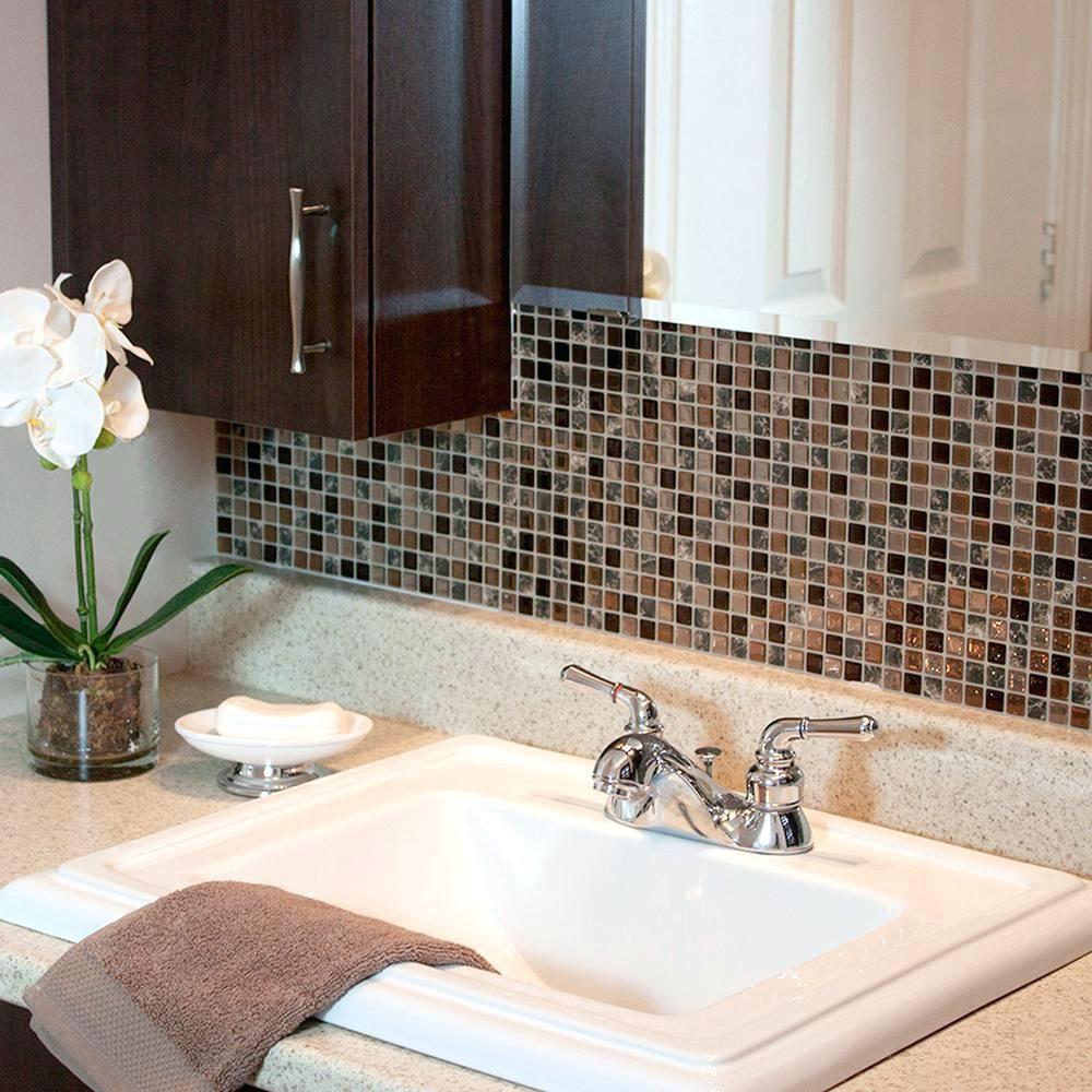 Silver Glass Tile Backsplash Smart Tiles Approximately 3 In W X 3 In H Brown Smart Tiles Approximately 3 In Smart Tiles Vinyl Wall Tiles Vinyl Tile Backsplash