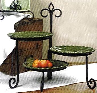 Wrought Iron 3 Plate Swivel Plate Stand Keller Style & Wrought Iron 3 Plate Swivel Plate Stand Keller Style | Gift Ideas ...