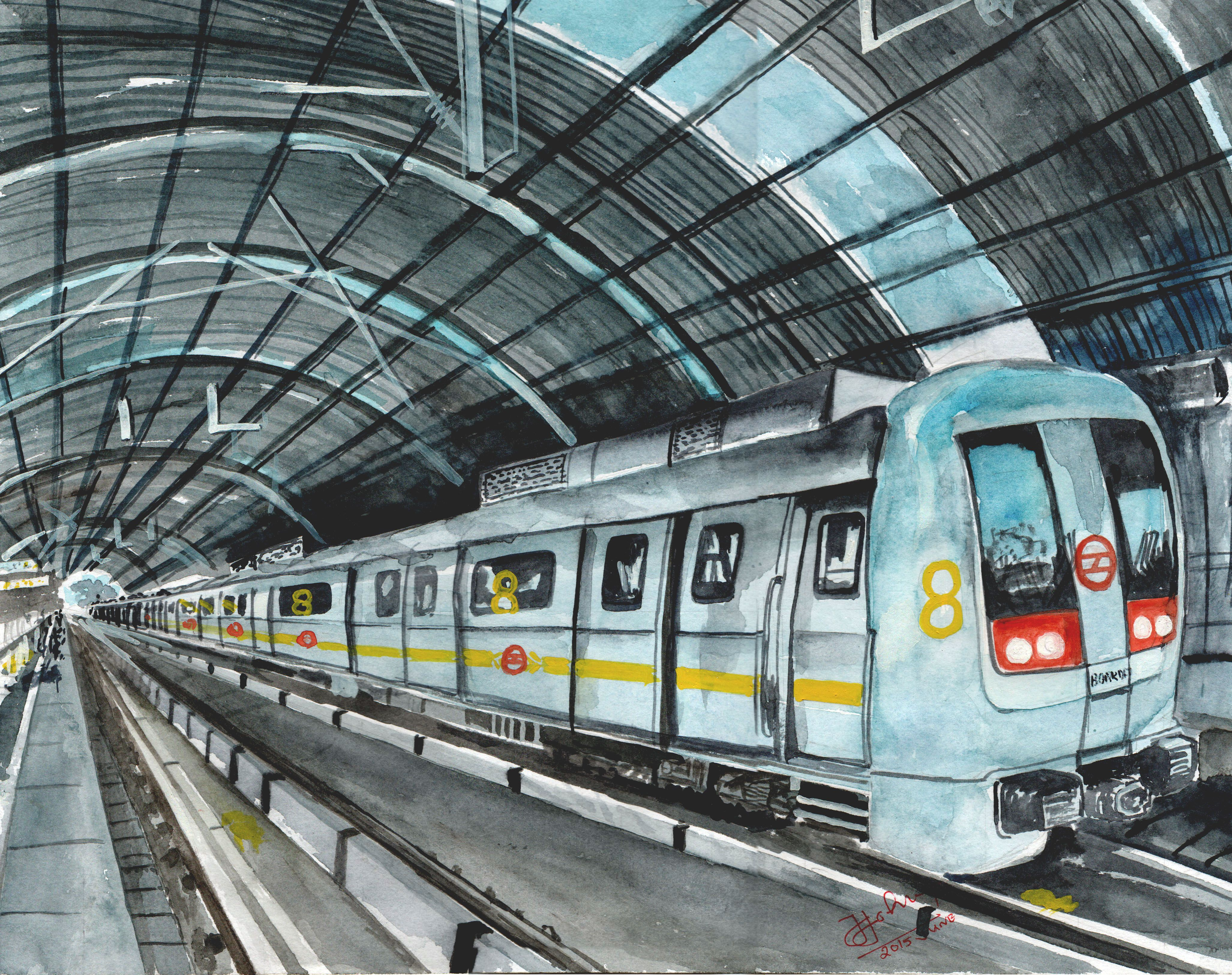 My Water colour Drawing Metro Station New Delhi