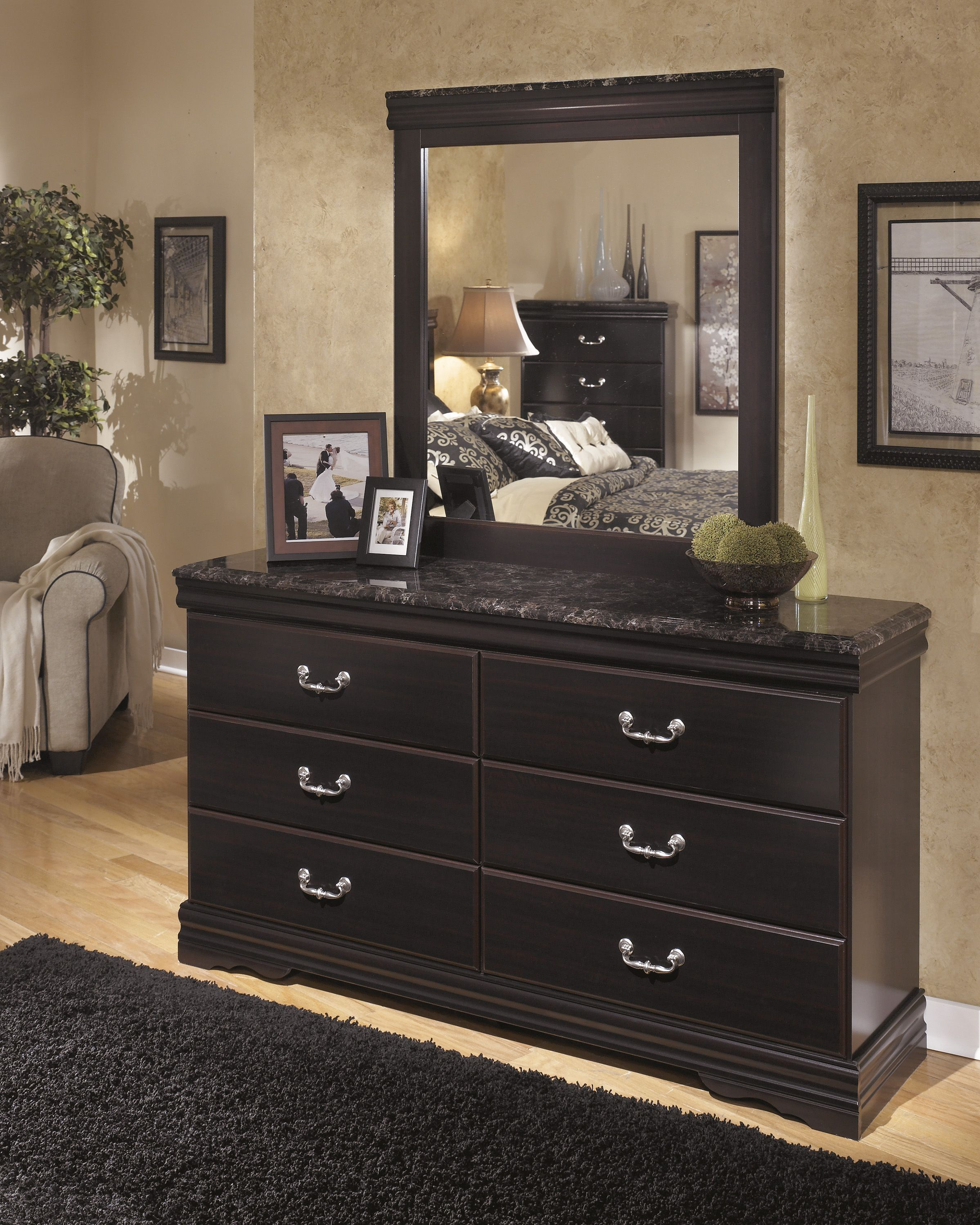 The 'esmeralda' Dressermirror Has 6 Working Drawers  The Best Ashley Bedroom Dressers Design Decoration