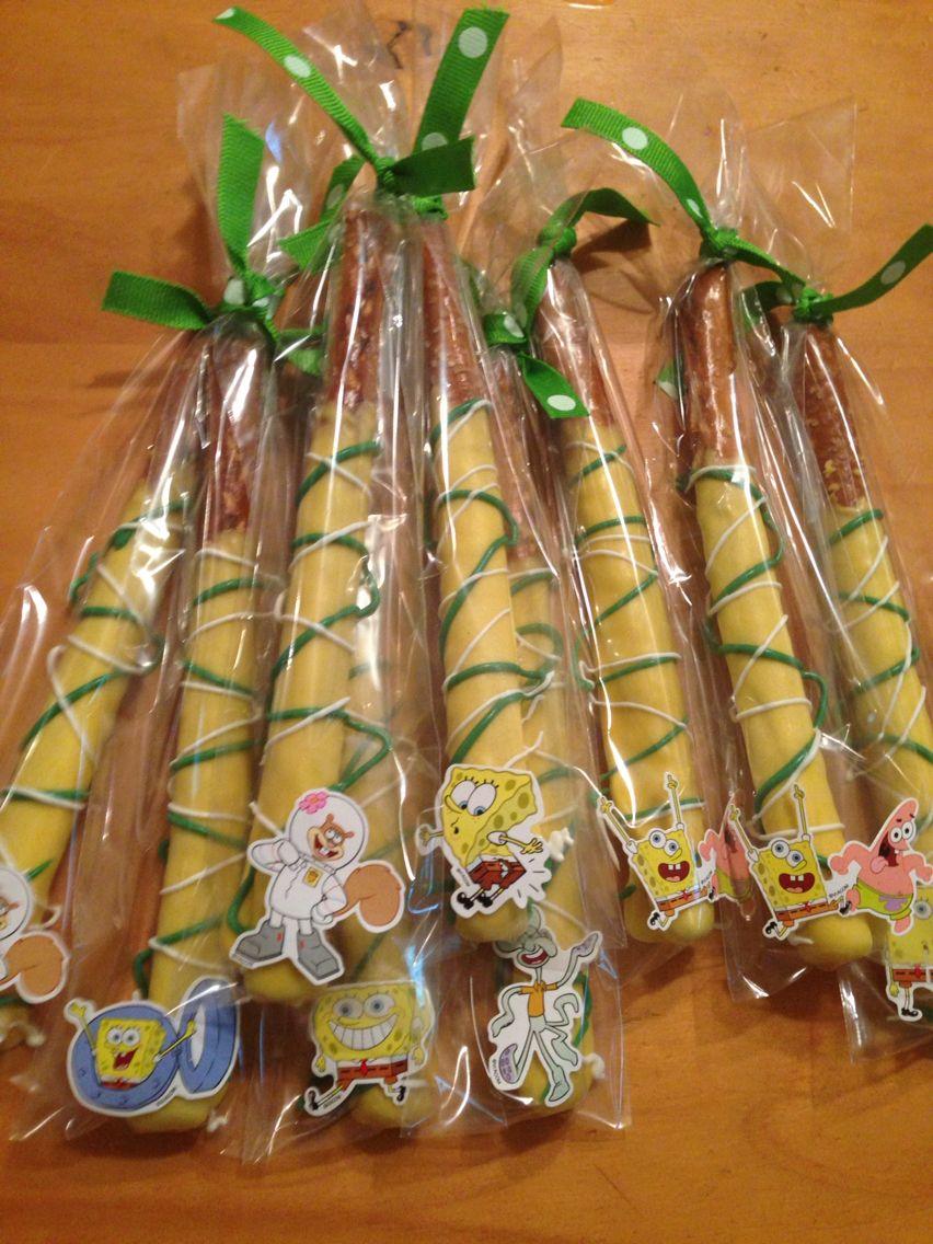 Spongebob Theme Chocolate Covered Pretzels! By Luisa | Luisa's ...