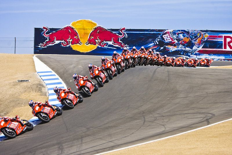 Casey Stoner shows the proper line for the winding, dipping corkscrew at Laguna Seca in this multiple exposure photo.
