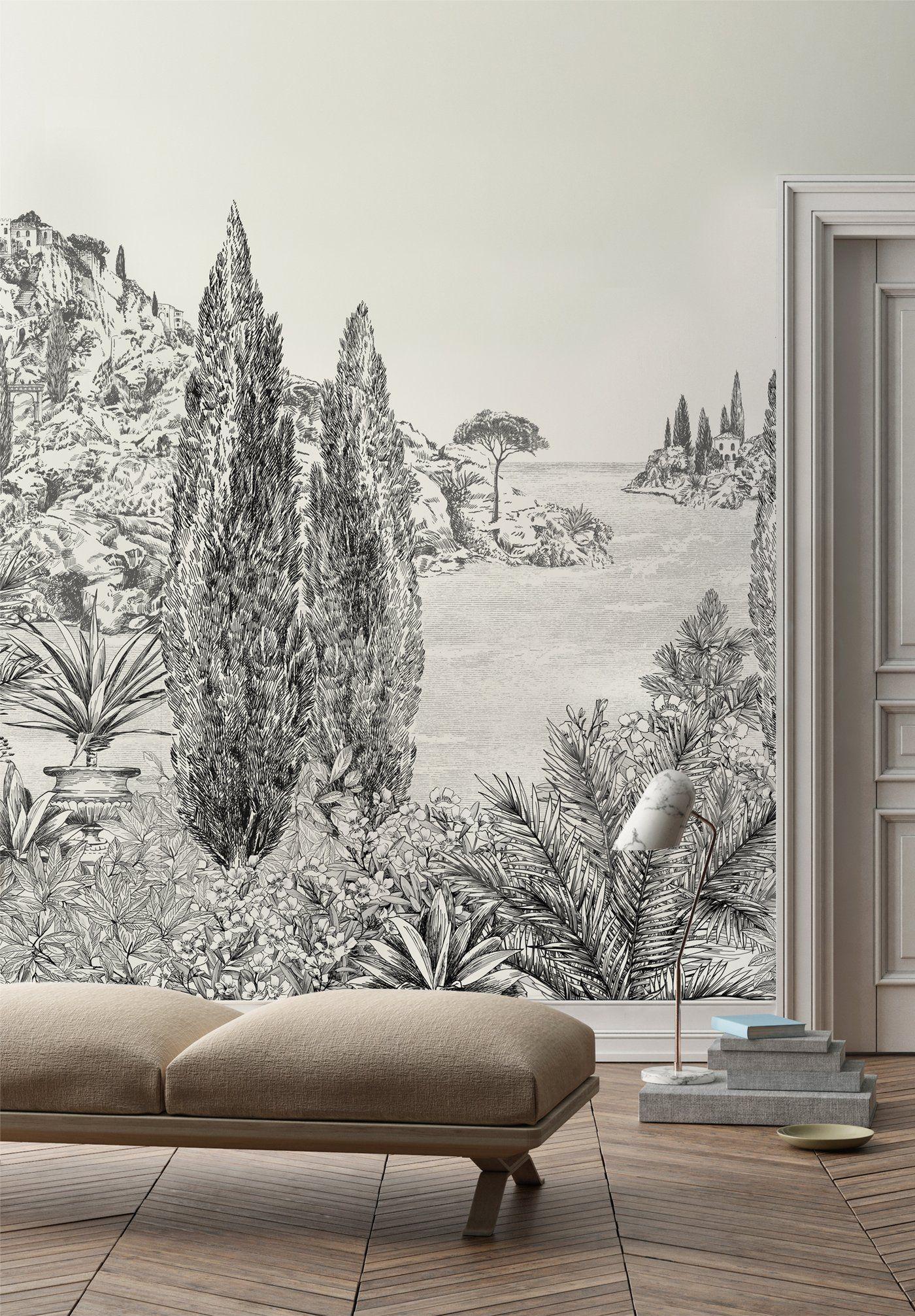Papier Peint Motif Nature cypres | papier peint panoramique, papier peint et papier