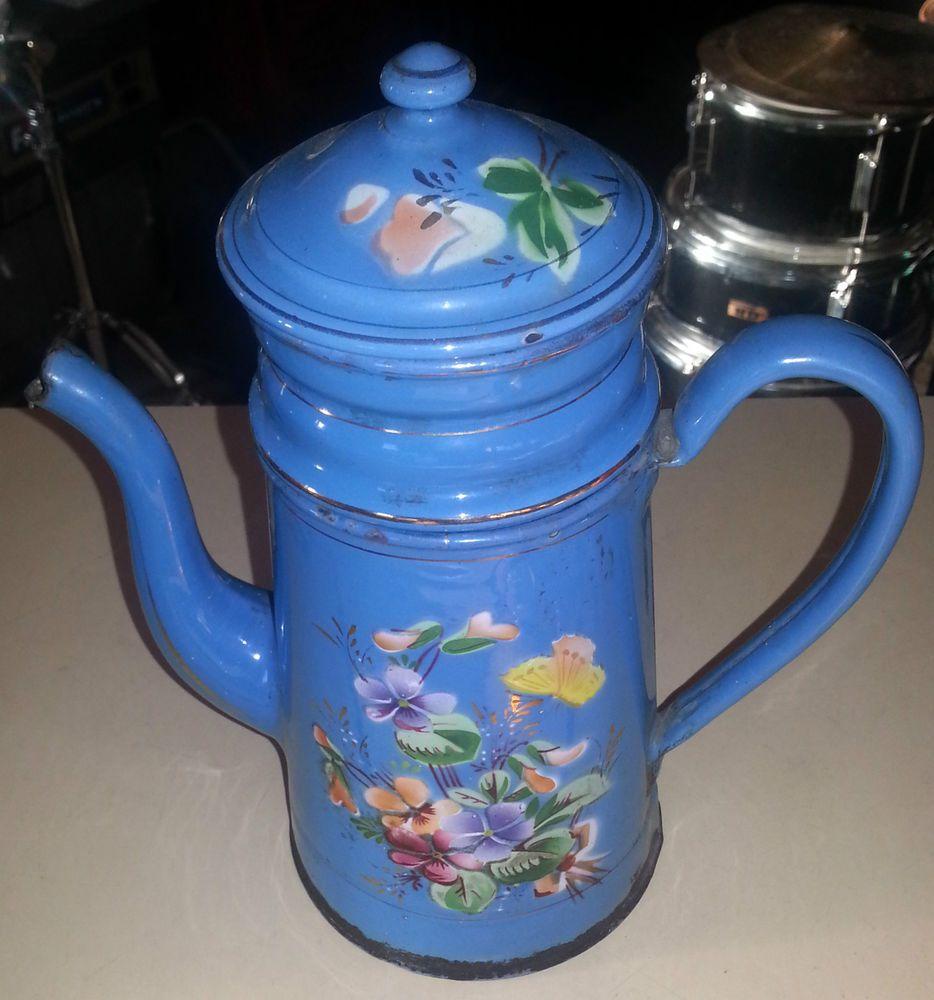 Cafetière émaillée ancienne  1900 / old enamel coffee pot en très bon état
