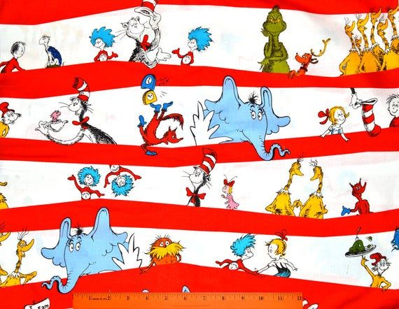 DR. SEUSS FABRIC | Sold By The Half Yard! | For Sewing Quilting | 100% Cotton | Cat in the Hat Docto