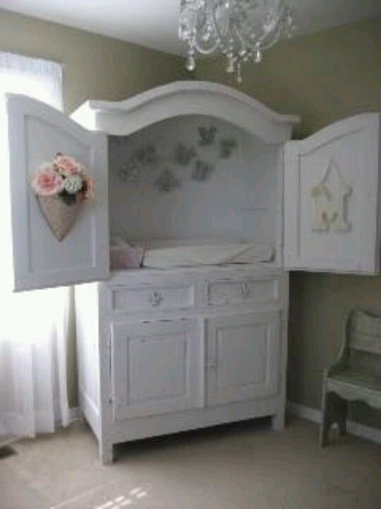 Tv Armoire upcycle to changing table with underneath storage. | Baby ...