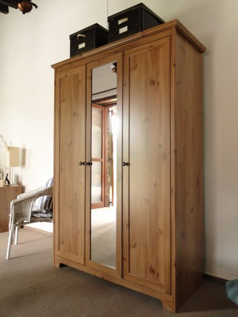 Ikea aspelund wardrobe photo 3 door wardrobe hanging space and shelving full length mirror - Ikea armoire with mirror ...