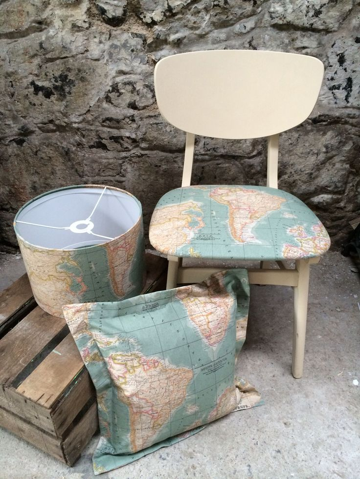 Love this fabric it looks like one of annie sloans all over the chalk paint in old ochre and world map fabric by annie sloan gumiabroncs Images