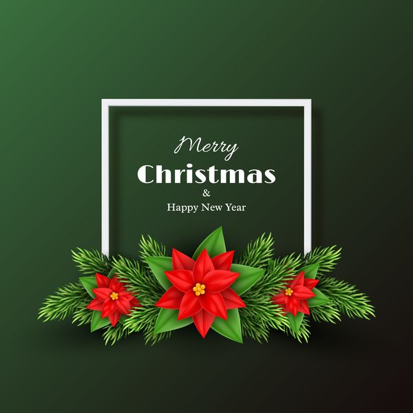 green christmas with new year background with red flower vector free eps file green christmas