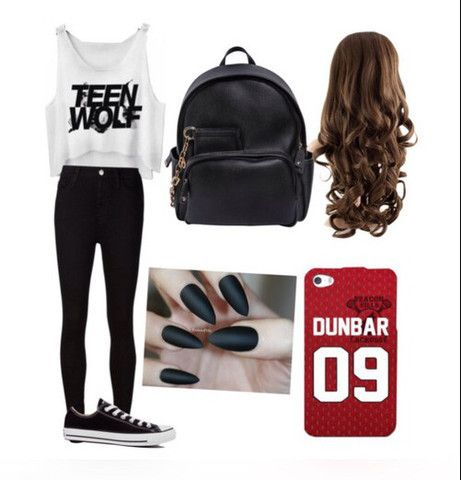 2015, black, leather bag, nails, outfit, phonecase, red, teen wolf