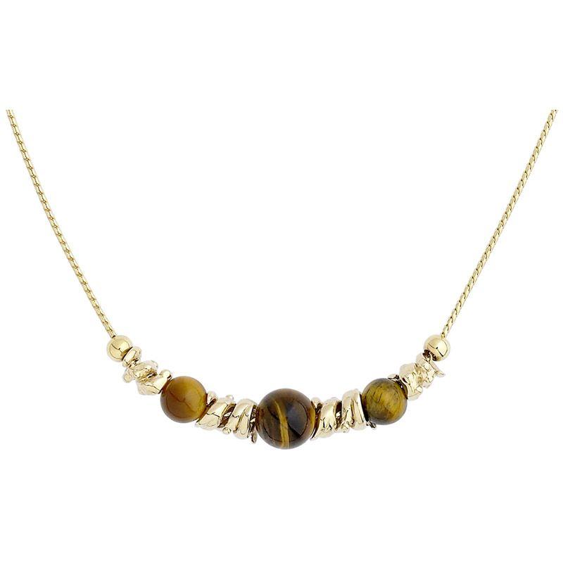 """Collier JOURDAN métal doré Chaîne maille torsadée, pendentif boule """"Œil du Tigre"""""""
