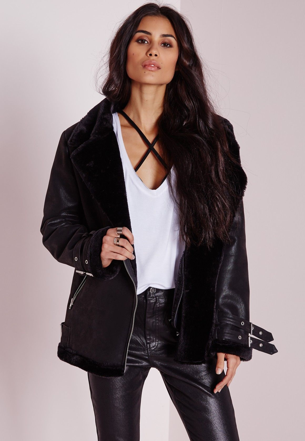 Missguided Faux Shearling Pilot Jacket Black Coats