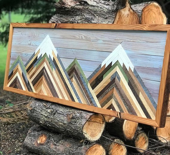 Size 36 Long X 13 Tall Materials Reclaimed Wood Why I Love It Skillfully Handmade And A Beautiful A Wood Art Projects Reclaimed Wood Art Mountain Wood Art