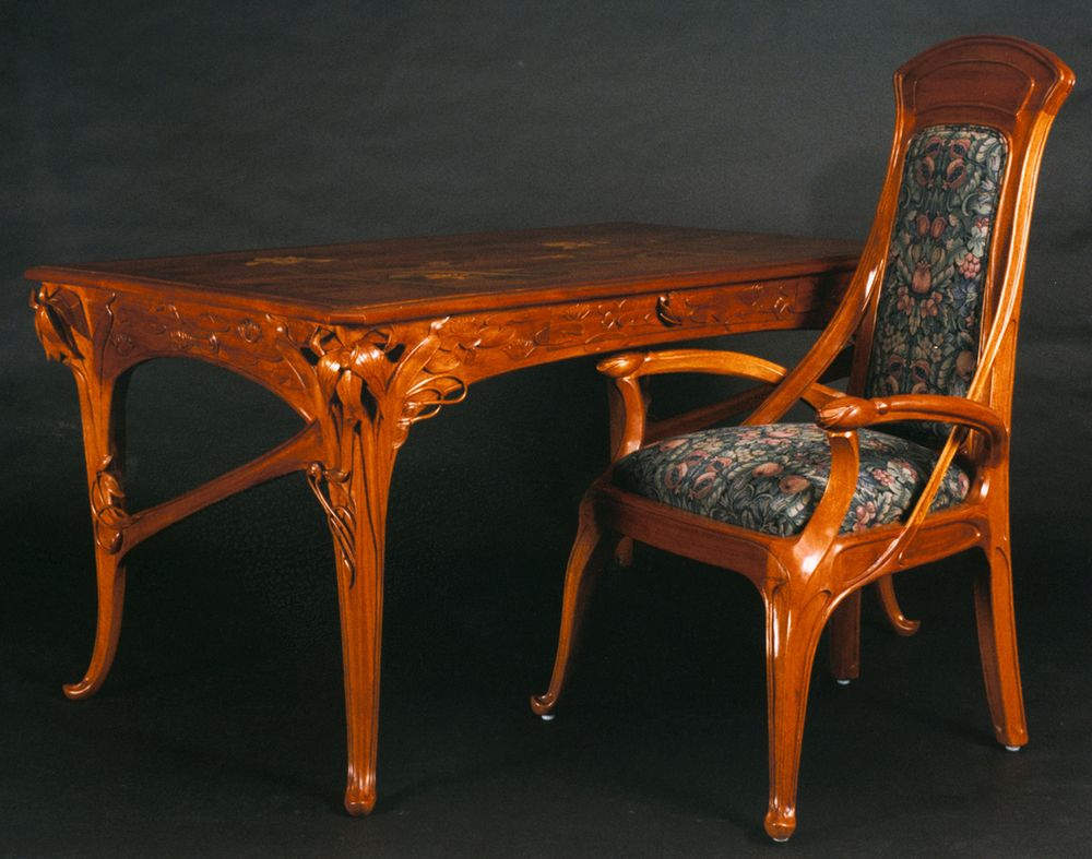 Rare original beech stained chair by eugene gaillard circa 1900 at - Art Nouveau Desk Google Search