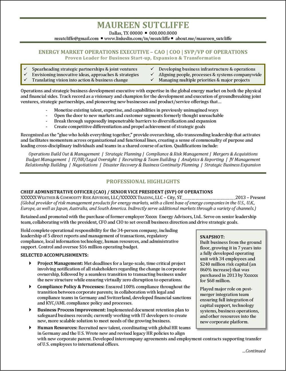 National award-winning executive resume examples, executive cover ...