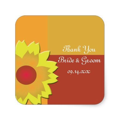 Sunflower Color Block Wedding Thank You Stickers