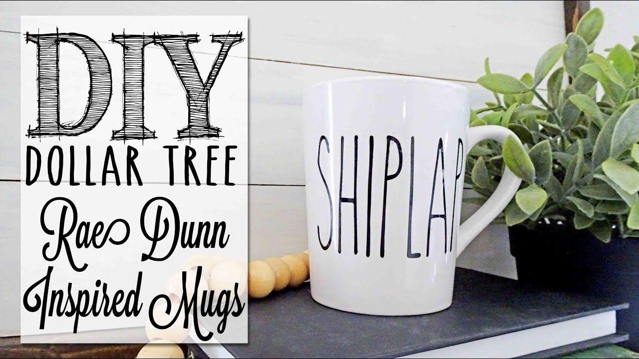 DIY Rae Dunn Inspired Mugs Dollar Tree Craft YouTube