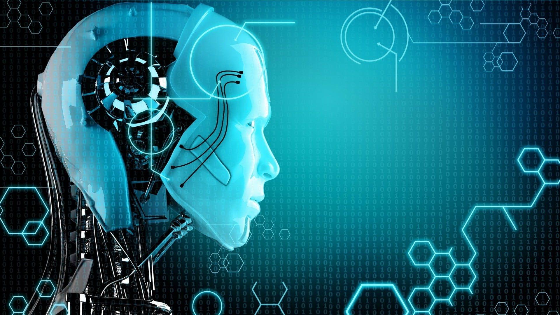 Green And Black Robot Wallpaper Face Portrait Digital Art Robot Artificial Intelligence Technology Binary Number Robot Wallpaper Hd Wallpaper Digital Art