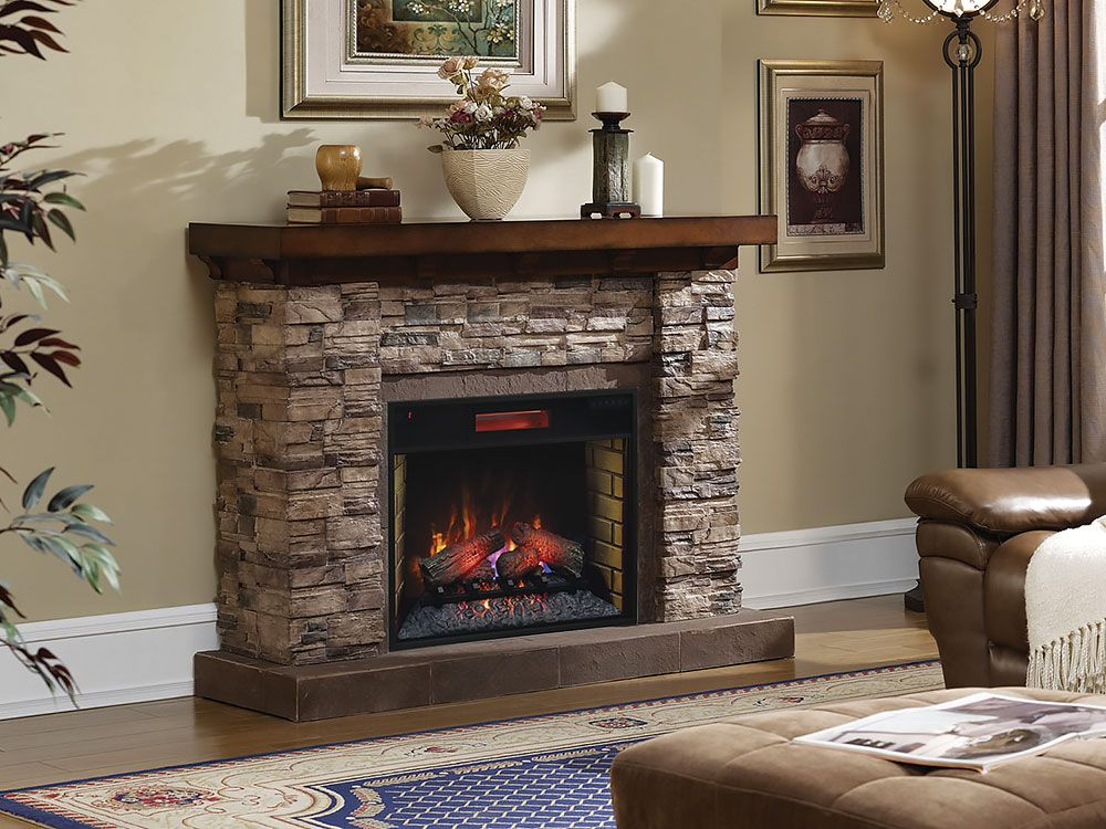 Grand Canyon 28 In Stacked Stone Infrared Electric Fireplace Cabinet Mantel Package 28wm9185 S250 Home Fireplace Fireplace Stone Electric Fireplace