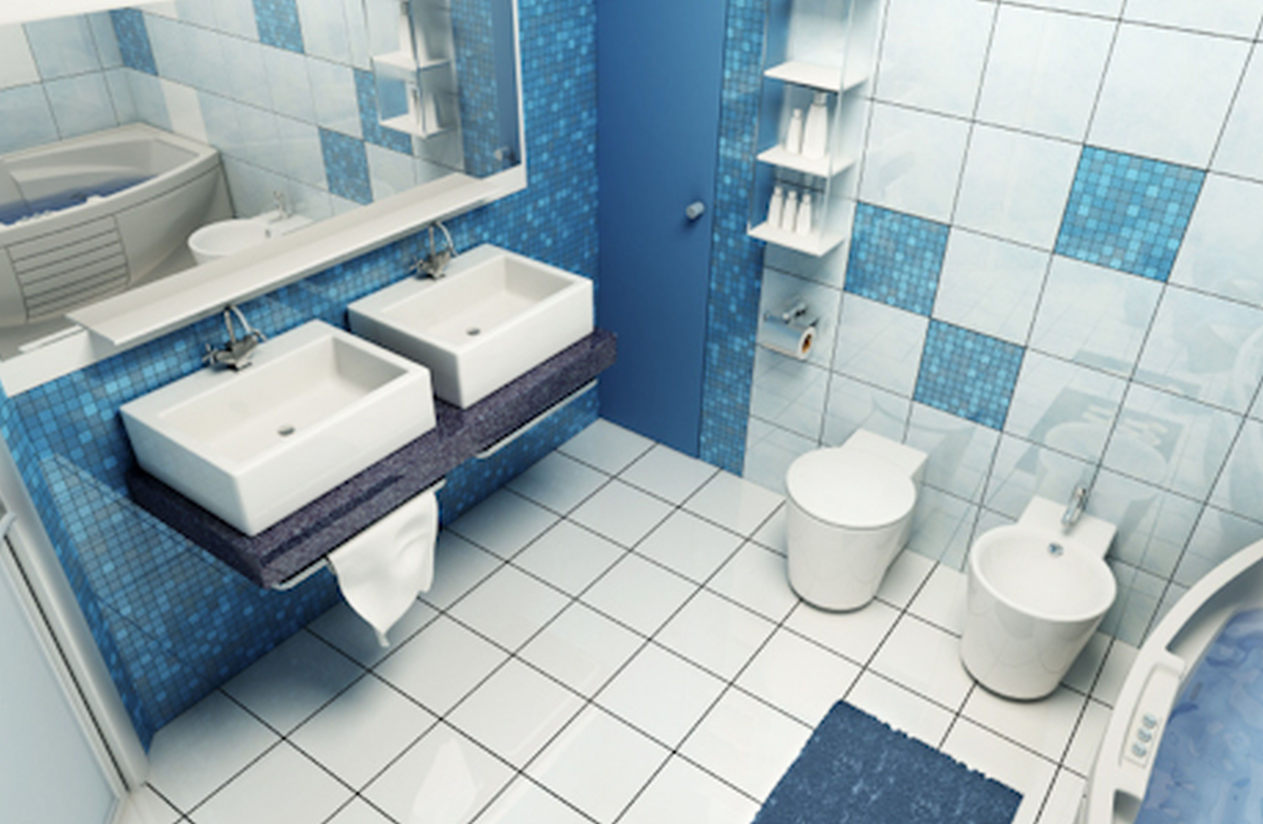 White And Blue Bathroom Bathroom Remodel Cost Small