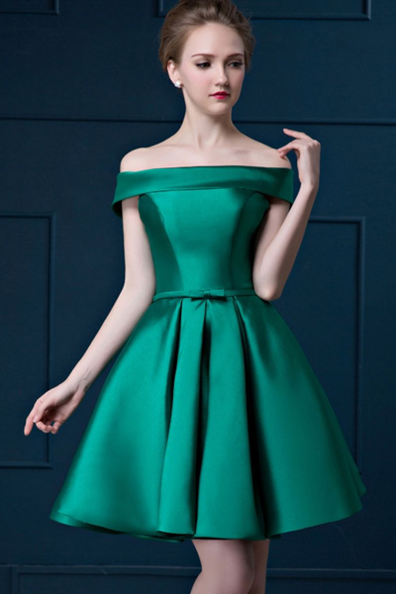 Women\'s Party Green Slash Neck Solid Satin Above Knee Evening Dress ...
