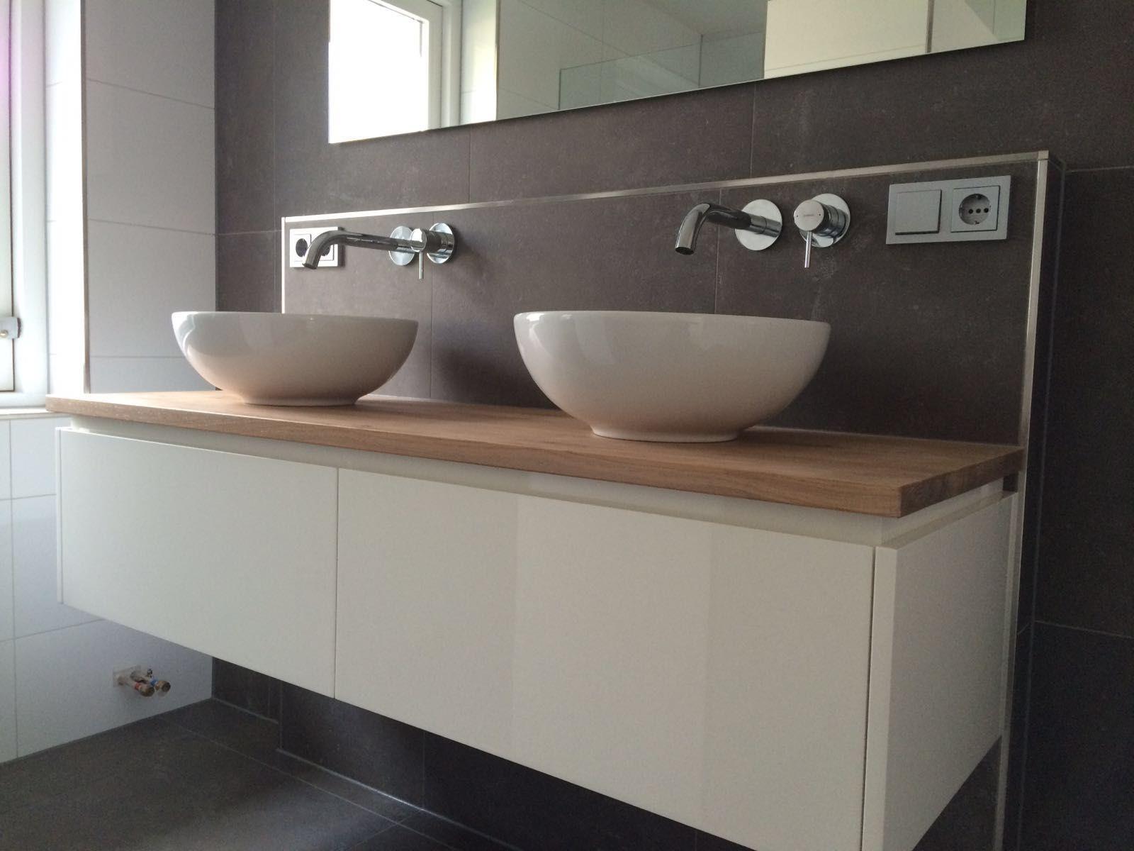 Badkamermeubel dubbele wasbak minimalistische nlfunvit badkamer